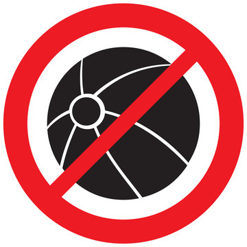 beach ball playing prohibition sign (forbidden symbol, not allowed icon)