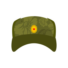 Russian soldier cap isolated. Summer hat is Russia military. Vector illustration