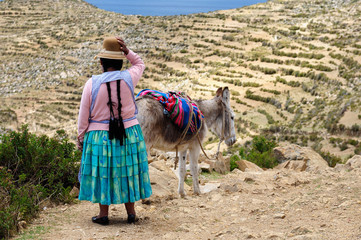 South America, Bolivia - Isla del Sol on the Titicaca lake, the largest highaltitude lake in the world. Ethnic woman is travelling on the donkey through the island.