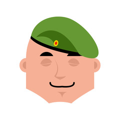 Russian soldier sleeping emoji. Airborne troops  asleep emotions. Paratrooper Military in Russia dormant. Illustration for 23 February. Defender of Fatherland Day. Army holiday for Russian Federation