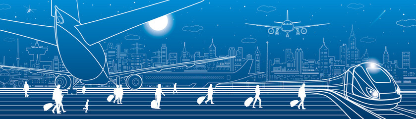 Airport illustration. Passengers go to the train. Aviation transportation infrastructure. The plane is on the runway. Night city on background, vector design art