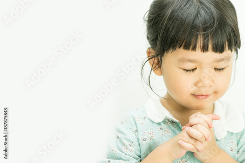 Little Girl Praying In The Morninglittle Asian Girl Hand Praying