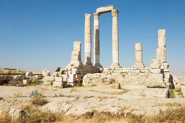 Ancient stone columns at the Citadel of Amman in Amman, Jordan.