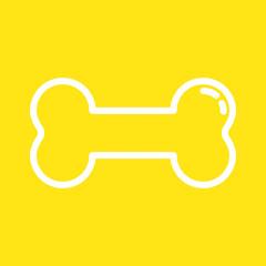 Knochen - Icon, Symbol, Piktogramm, Bildmarke, grafisches Element - gelb, weiß - Web, Druck - Vektor