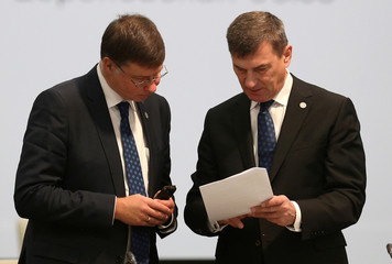 EU Commission Vice-President for the digital single market Ansip talks to EU Commission Vice-President for the Euro and Social Dialogue Dombrovskis in Sofia