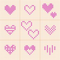Valentine Day. Set of 9 hearts. Cross-stitch.