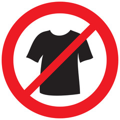 no t-shirt sign (prohibition symbol, not allowed icon)