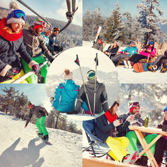 collage of winter holiday at ski resort