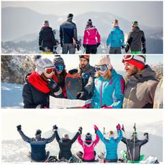 collage of winter holiday at ski resort