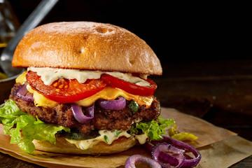 Tasty traditional American cheeseburger