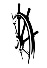 ship helm design - black and white steering wheel vector illustration