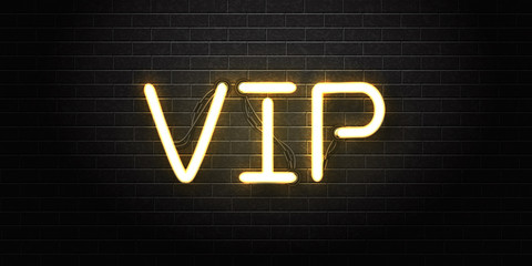 Vector realistic isolated neon sign of VIP lettering for decoration and covering on the wall background. Concept of private room, luxury and night club.