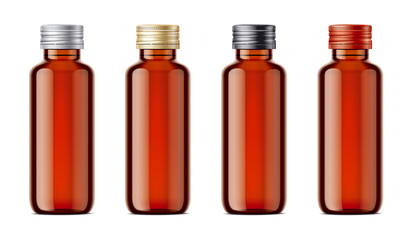 Blank bottles mockups for syrup or other pharmaceutical liquids. Light brown bottles with metal lid.