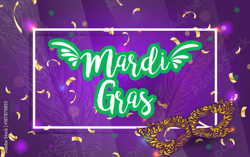 Mardi gras brochure vector logo with hand drawn lettering and mardi gras brochure vector logo with hand drawn lettering and golden fat tuesday mask m4hsunfo