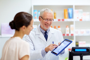 Poster Apotheek apothecary and customer with tablet pc at pharmacy