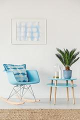 Blue and white apartment interior