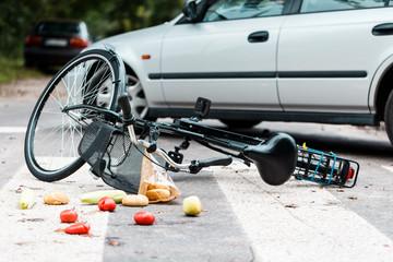 Crashed bike after traffic accident