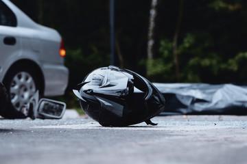 Close-up of black motorcycle helmet