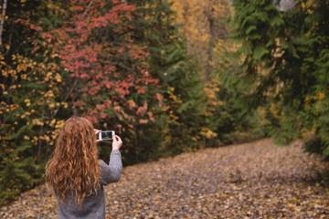 Woman taking a photo with phone in autumn forest