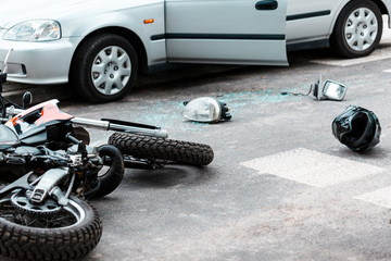 Motorcycle after collision with car