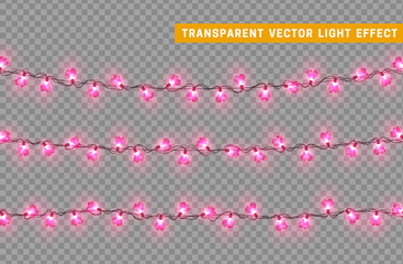 Decorations string garlands, pink lights in shape of heart isolated realistic design elements. Vector Led neon lamps