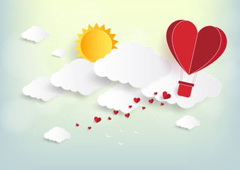 Illustration of love and valentine day,Origami made hot air balloon flying