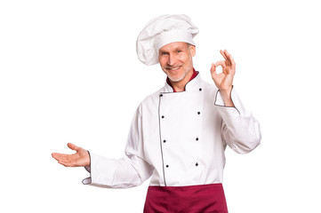 Happy chef pointing
