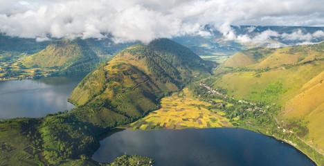 Aerial view over Toba lake,North Sumatra,Indonesia