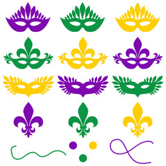 Mardi gras. Set of objects on a white background