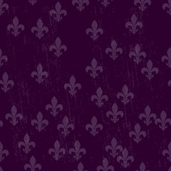 Mardi gras dark seamless background fleur de lis