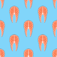 Seamless pattern with salmon steak on blue background. Vector texture.