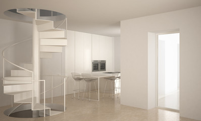 Minimalistic stair in modern empty space with kitchen in the background, white architecture interior design