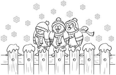 Drei niedliche Tauben auf Zaun - Vektor-Illustration