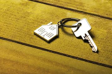 Hausschlüssel auf grünem Holzhintergrund