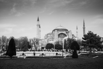Black and white image Hagia Sophia Istanbul, Turkey