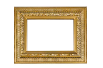 Empty wooden frame on the white background