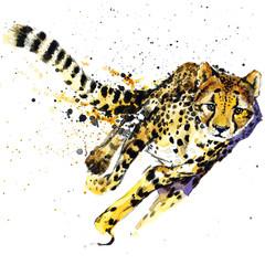 cheetah watercolor  illustration