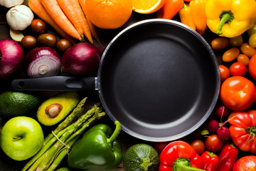 frame of different types of fruits and vegetables with a frying pan in the middle