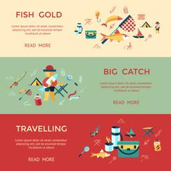Digital vector fishing activity set collection