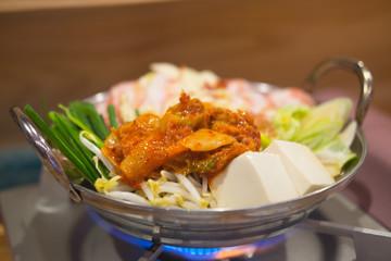 Cooking Kimchi hot pot