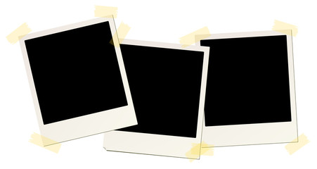 3 blank instant picture frames affixed with sticky tape