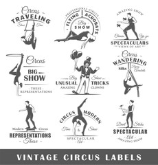Set of vintage circus labels