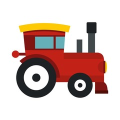 Red toy train icon, flat style