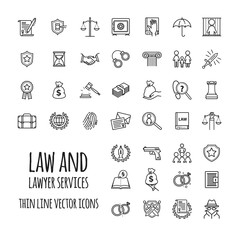 Law and lawyer services icons set for web design, mobile app, graphic design