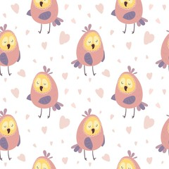 Cute owls seamless pattern. Vector illustration for background.