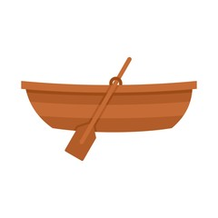 Wooden boat icon, flat style
