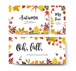 Vector floral watercolor style card design Autumn season border frame set: colorful orange yellow burgundy red fall tree leaf, branch.  Postcard, party banner poster wedding invite, menu card template