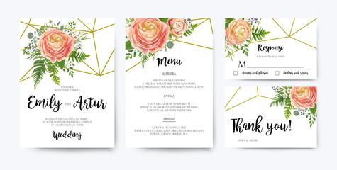 Wedding Invitation, floral invite card Design: pink peach rose Ranunculus elegant wax flowers, blue berry Eucalyptus forest fern greenery bouquet geometric golden border print. Vector illustration set