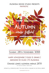 Autumn season party festival invite poster banner Vector watercolor style card design  border frame: colorful orange yellow orange red fall leaves forest maple oak tree berries.  Decorative copy space