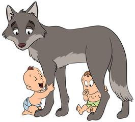 Romulus und Remus mit Wolf - Vektor-Illustration